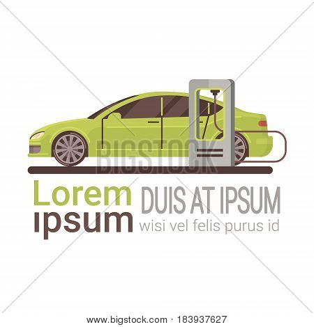 Electrical Car At Charging Station Eco Friendly Vehicle Flat Vector Illustration