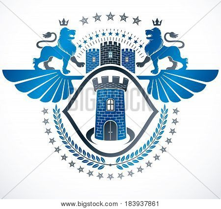 Retro vintage Insignia. Vector design element composed with wild lions and medieval castle