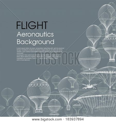 FLIGHT Aeronautics . Vintage hot air balloons floating in the sky. Trendy background. Monochrome in shades of blue