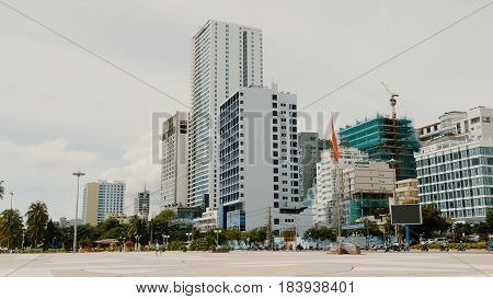 Daytime view of the main square in Nha Trang with skyscrapers