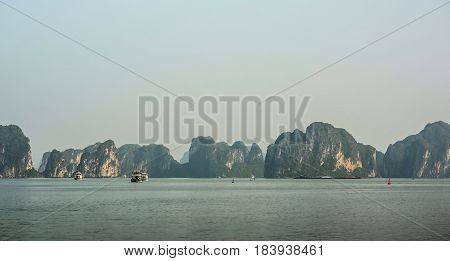 Mountain scenery at Halong Bay, North Vietnam