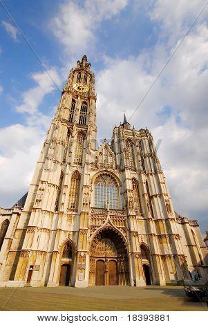 Big cathedral in Antwerp, Belgium