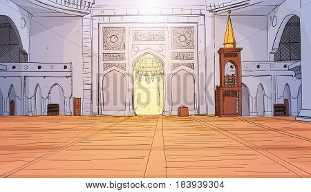 Nabawi Mosque Building Interior Muslim Religion Ramadan Kareem Holy Month Vector Illustration