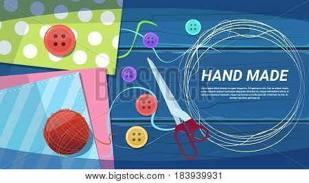 Hand Made Art Work Handcraft Products Creation Process Top Angle View Flat Vector Illustration
