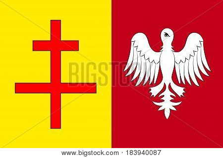 Flag of Sarreguemines is a commune in the Moselle department of the Grand Est administrative region in north-eastern France. Vector illustration