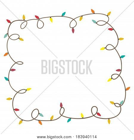 color frame with extension cord lights christmas vector illustration