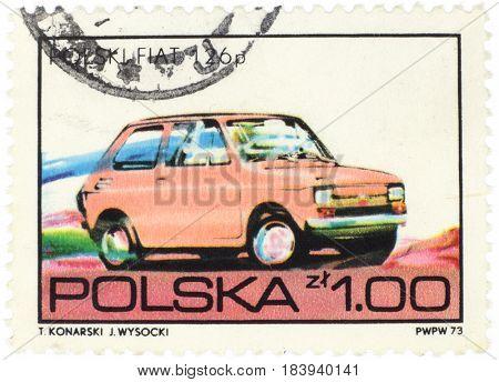 POLAND - CIRCA 1973: A stamp printed in Poland shows car Polish Fiat 126 p, from series, circa 1973.