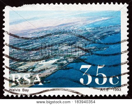 SOUTH AFRICA - CIRCA 1993: a stamp printed in South Africa shows Walvis Bay South African Harbor circa 1993
