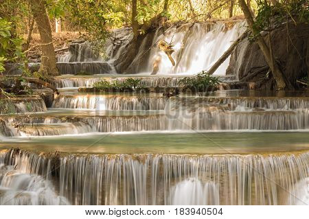 Multiple deep forest waterfall natural landscape background