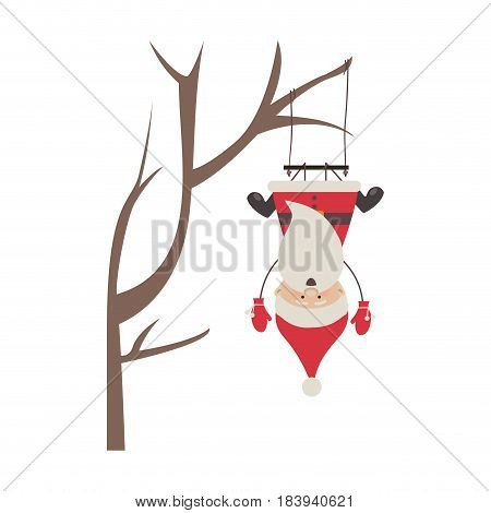 colorful silhouette caricature of santa claus in tree pendant of swing vector illustration