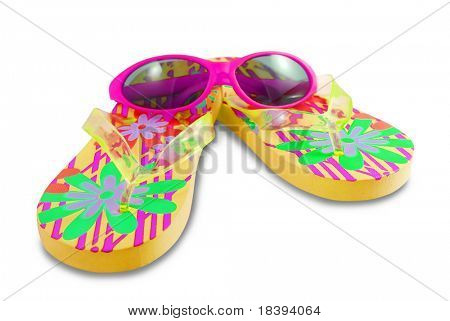 Colorful girls flip-flops and pink sunglasses isolated on white background