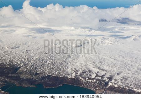 Top view Iceland winter season natural landscape background over seacoast