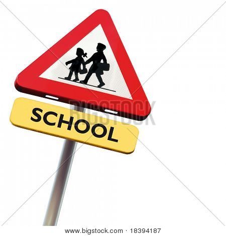 Back to school: roadsign with warning for crossing schoolkids isolated on white square background