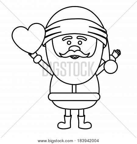 monochrome contour of santa claus with open arms and holding heart in hand vector illustration