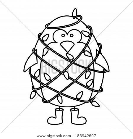 monochrome contour of penguin with boots and involved in cord lights christmas vector illustration
