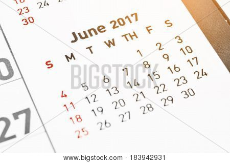 Close up wall Calendar June 2017 page