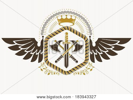 Classy emblem made with eagle wings decoration armory and royal crown symbol. Vector heraldic Coat of Arms.