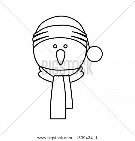 monochrome contour of snowman face with scarf and christmas hat vector illustration