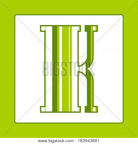 Striped colorful letter K isolated on white background. Elements for kids cards or alphabets in vintage or retro style.