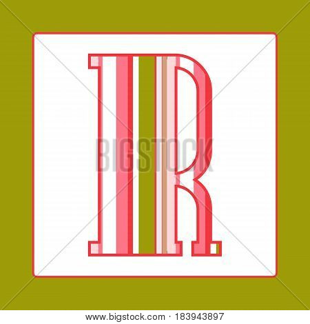 Striped colorful letter R isolated on white background. Elements for kids cards or alphabets in vintage or retro style.