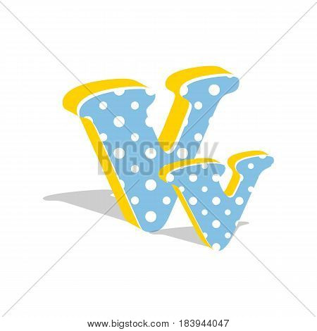 Capital and numeric cute dotted 3d letter V isolated on white background. Vector illustration. Element for design. Kids alphabet.