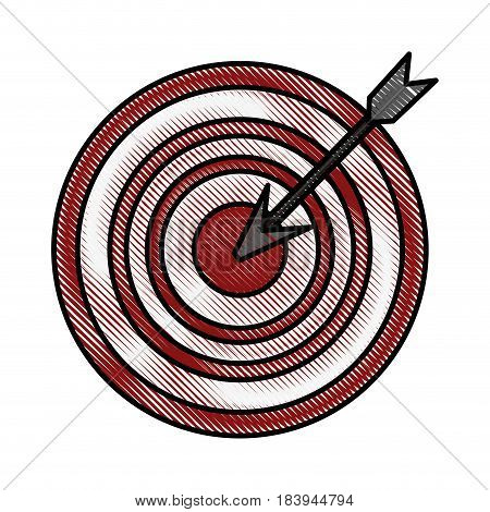 color blurred stripe arrow hitting a target vector illustration