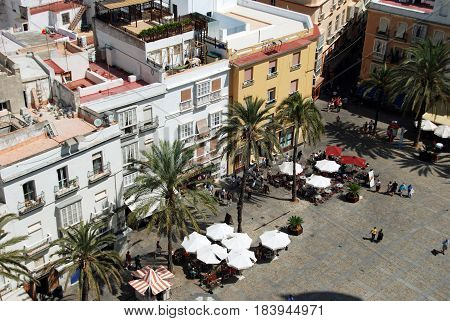 CADIZ, SPAIN - SEPTMEBER 8, 2008 - Elevated view of pavement cafes in Cathedral Square Cadiz Cadiz Province Andalusia Spain Western Europe, September 8, 2008.