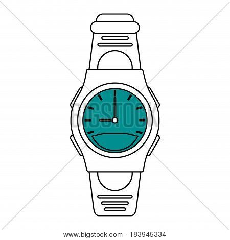 sketch color silhouette of sport male wristwatch vector illustration
