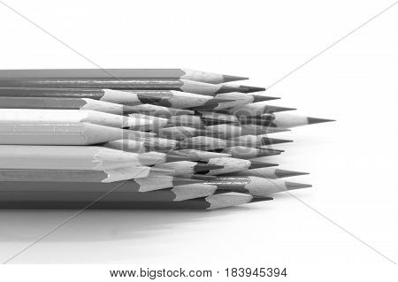 Wooden pencil on white background eduation object background