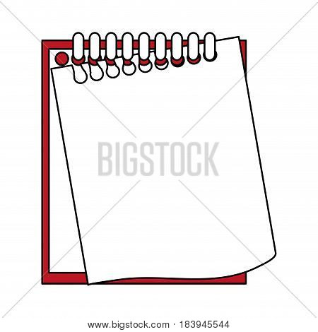 sketch color silhouette notebook spiral with sheets semi ripped vector illustration