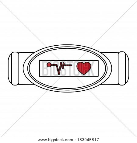 sketch color silhouette fitness band hand bracelet with electronic screen vector illustration