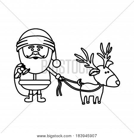 monochrome contour of santa claus with gift bag and reindeer with rope vector illustration