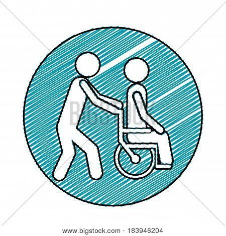 color pencil drawing circular frame with person helping another push a wheelchair vector illustration