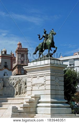CADIZ, SPAIN - SEPTMEBER 8, 2008 - Horseback statue on the Monument to the Cadiz constitution in the Plaza Espana Cadiz Cadiz Province Andalusia Spain Western Europe, September 8, 2008.