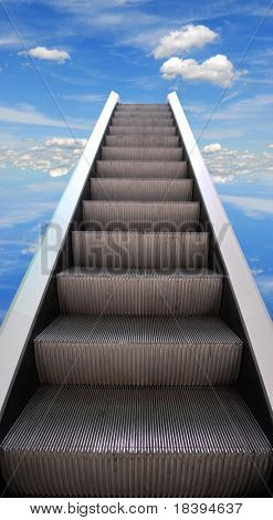 Escalator stairway to success on blue sky background