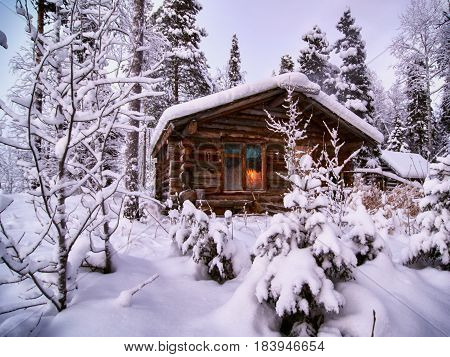 House in the National park Paanajarvi. Russia, North Karelis