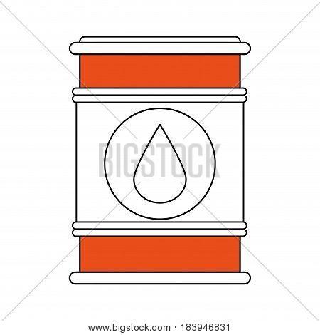 sketch color silhouette barrel oil with petroleum drop symbol vector illustration