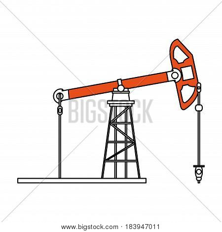 sketch color silhouette tower and system oil extraction vector illustration