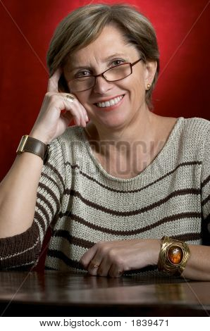 Smiling Woman In Her Fifties