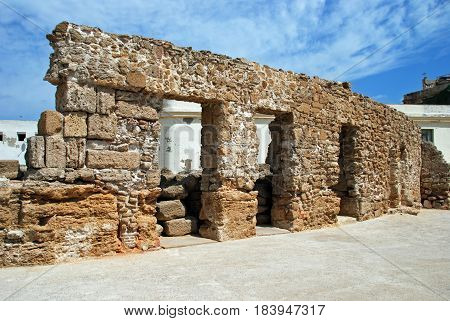 View of part of the Roman theatre building Cadiz Cadiz Province Andalusia Spain Western Europe.