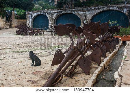 Tonnara At Scopello With Ancient Anchors, Sicily, Italy