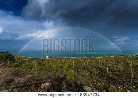 Rainbow On The Sea At Scopello, Sicily, Italy