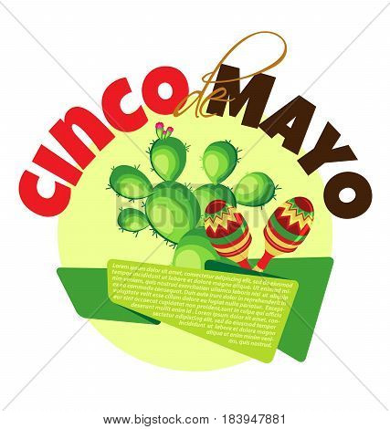 Vector image for a holiday of Cinco de Mayo. Cactus banner and maracas on a pastel yellow circle
