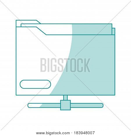 blue silhouette shading office folder with documents inside and base vector illustration