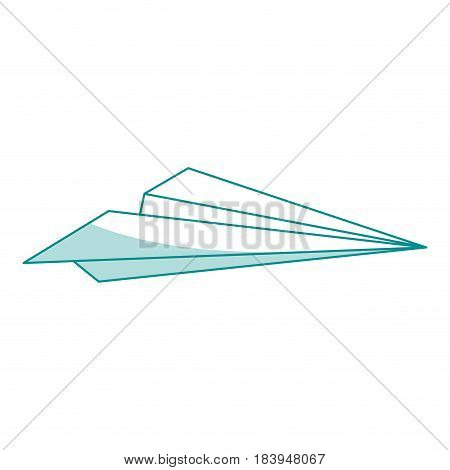 blue silhouette shading airplane of paper toy vector illustration