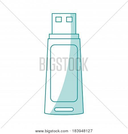 blue silhouette shading usb pc flash drive vector illustration