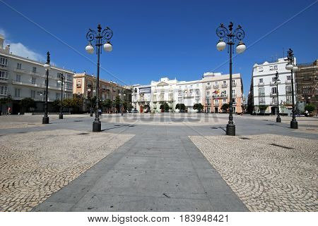 CADIZ, SPAIN - SPETMEBER 8, 2008 - View of San Antonio Plaza with the National University of Distance Education building to the rear Cadiz Cadiz Province Andalusia Spain Western Europe, September 8, 2008.