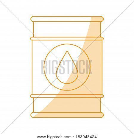 orange silhouette shading barrel oil with petroleum drop symbol vector illustration