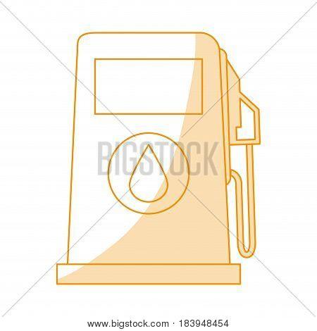 orange silhouette shading fuel dispenser machine vector illustration