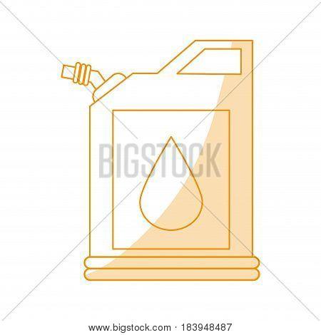 orange silhouette shading fuel container with petroleum drop symbol vector illustration